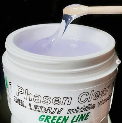 "Гель ""DPG"" LED/UV gel 1 Phasen clear middle viscose (Green line), 100 г"